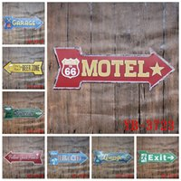 Wholesale Garage Motel Route Exit Beer Beach Lounge bar arrow directional Tin Signs Retro Metal Sign Decor Wall Cafe Pub Shop Restaurant