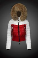 Wholesale Womens Short Red Parka - Plus size High quality women's down jacket Short fashion coat Patchwork White and Red Real fur collar Womens Down parka