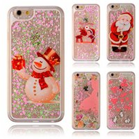 Wholesale Cover Iphone Stars - For iphone 8 Christmas Day Gift 3D Dynamic Glitter Stars Liquid Quicksand Hard Phone Back Case Cover For Galaxy S8 6 7 Plus