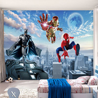 Wholesale Tv Backdrop Wall - Custom 3D Photo wallpaper Batman Iron Man Wallpaper Spider-Man Wall Murals Boys Bedroom Living room TV backdrop wall Room decor Super Hero