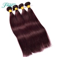 Wholesale Red Hair Wefts - 4Pcs Lot 99J# Mongolian Silky Straight Human Hair Extensions Unprocessed 9A Pure Color Burgundy Wine Red Human Hair Weave Wefts
