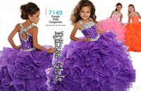 Wholesale Vc Fashion - Fashion Junior Flower Girls Dresses For Wedding 2016 Ruffled Organza Ball Gown VC Beaded Halter Bodice Rhinestones Girls Pageant Dresses