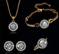 fazendo anéis de casamento venda por atacado-Moda de Luxo 18 K de Prata Banhado A Ouro de Cristal Austríaco Colar Brincos Anel Set Jóias para As Mulheres Feitas Com Swarovski Elements Wedding Set