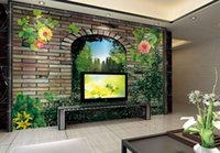 Wholesale Picture Bricks - 3D wall murals wallpaper custom picture mural wall paper 3D Scene of Red Brick TV background wall home decor