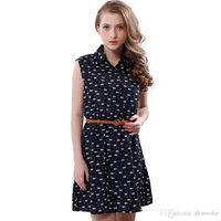 Wholesale Thin Fashion Shirts Wholesale Women - Hoe sale summer 2016 fashion new women shirts dress Cat footprints pattern Show thin Shirt dress casual dresses with Belt