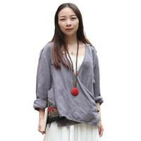 Wholesale Hanfu Women - LZJN Chinese Hanfu Vintage Blouse Women Tops Long Sleeve Gray Kimono Blouses Embroidery Tassels Ethnic Blusas Chemise Femme 7056