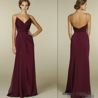 Wholesale Spaghetti Open Back Wedding Dress - Burgundy Bridesmaid Dresses 2016 Cheap Sexy Deep V Neck Spaghetti Straps Open Back Wedding Party Gowns Chiffon Ruched Long Bridesmaids Dress