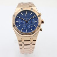 Wholesale Full Mechanics - Hot Luxury mens Brand Automatic Mechanics mens Watches Full Stainless Band three small blue dial rose gold strap watches men free shipping
