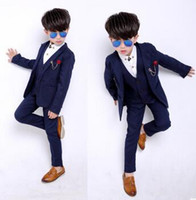Wholesale Long Vest Dresses Wholesale - Children's Suit Sets Fashion Kids Wedding Full dress Boys 3pcs Suits European Style Fashion Shirt+Vest +pants Suits Kids Party Formal Suit