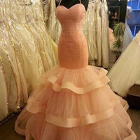 vestidos de novia de alta costura rosa al por mayor-Sirena de la vendimia vestidos de novia de color rosa con correas espaguetis apliques de alta costura en capas más tamaño vestido de novia Vestido De Noiva