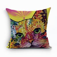 kedi minder yastıkları toptan satış-Renk karışık kedi yastık örtüsü yaratıcı pet yavru almofada moda ev dekor modern kanepe sandalye yatak cojines