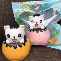 Wholesale Cake Puff - 10psc Lot New Original Cute Squishy Face Cat Bread Slow Rising Kitty Pussy Straps Soft Cream Scented Cake Puff Kid Fun Toy Gift
