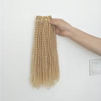 ingrosso biondo estensioni dei capelli afro-# 613 biondo frontale crespi riccio crespo afro con 3bundles estensioni vergini brasiliane dei capelli umani senza spargimento