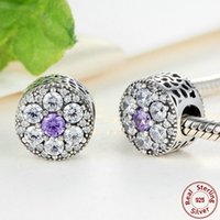 Wholesale Purple Pandora Charms - Forget Me Not Button-inspired Floral Charms in 925 Sterling Silver with Purple & Clear CZ for Pandora Style Beaded Charm Bracelets S276
