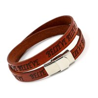 Wholesale Bracelets Leather Customized - New Embossing BELIVE Leather Bracelet for Men Women Customized LOGO Bracelets Wristband Advertising and Promotion Small gifts