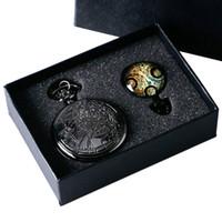 Wholesale Antique Pocket Watch Set - Wholesale-Uk movie Doctor Who Pocket Watch men quartz fashion Necklace Dr Who Seal pendant With Luxury Gift Box Set !!! Free Shipping