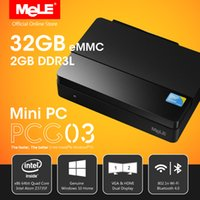 Wholesale Mele Quad - Wholesale-Fanless Intel Mini PC MeLE PCG03 Genuine Windows 10 Quad Core Intel Bay Trail Z3735F 2GB DDR3 32GB eMMC HDMI VGA LAN WiFi BT