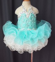 Wholesale Glitz Cupcake Dress Cheap - Cheap!Halter organza light sky blue crystal applique flower cupcake little girls pageant dresses kids toddler glitz prom Infant ball gowns