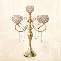 Wholesale Sumptuous Crystal - 65cm height 5-arms metal Gold candelabras with pendants sumptuous wedding table candle holder home decoration 10 pcs lot