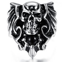 Wholesale Alternative Ring - Vintage Gothic Skull Ring Unisex Fashion Jewelry Stainless Steel Rings Punk Style Alternative creative personality skulls