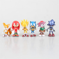 Wholesale Sonic Figures Loose - 100Sets Hot Sale New POP 6pcs LOT The Hedgehog Super Sonic Characters PVC Figure Loose Set jy288