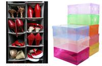 Wholesale Transparent Foldable Shoe Box Wholesale - Hot Sell CLEAR DIY plastic FOLDABLE storage box for SHOES (Random Send Colors) Transparent plastic box fast shipping