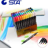 Wholesale Sta Markers - STA Double Headed12 24 36 48Art Brush Sketch Marker Pens Water Based Ink Twin Tip Marker Pen For Art Graphic Drawing Manga Fine
