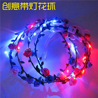 Led Hawaiian Leis Flor de Seda Fiesta Favor led leis Artificial Guirnalda Guirnalda Cheerleading Collar Decoración ZD113C