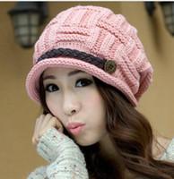 Wholesale Cute Baggy Women - Knit Beanie Woolen Yarn Hats for Women Fashion Han Edition Warm Winter Rageared Baggy Crochet Dome Bonnet Caps Cute Skiing Hat Hot Sale