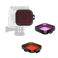 Wholesale Gopro Filter Underwater - Gopro Hero 6 5 Accessories with Underwater Waterproof Dive Protective Housing Case Bracket and GoPro Filter (Red + purple)