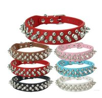 Wholesale Cheapest Leather Dog Collars - CHEAPEST!! DOG CAT collars 6 color PU collar pet supplies fashion cool rivet punk round nail dog chain PET products puppy pet collars