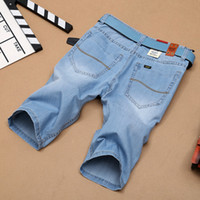 Wholesale Knee Pants For Men - Wholesale-Brand Mens Lightweight Denim Jean Shorts Blue Short Plus Size Jeans for Men Summer Mens Short Pants Trouser