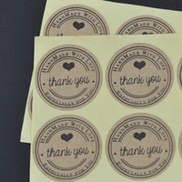 Wholesale Sticker Side - Factory direct (100pcs lot) Round 3cm Kraft Seal Sticker, Thank you + Hand made with love + Especially for you design