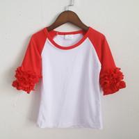 Wholesale Raglan Tees - Cute tee shirt red for girl ruffles icing three quarter t-shirts Christmas girls dress wholesales raglan o-neck shirt for kids