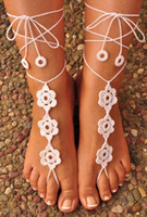 Wholesale Sexy Foot Wear - 2016 Sexy Beach Boho Cotton Bridal Crochet Barefoot Sandals Cheap Simple 4 Pieces  Lot Hand Made New Fashion Bohemian Formal Ankle Foot Wear