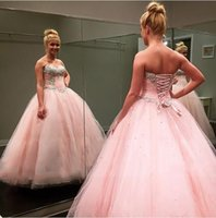 Wholesale Strapless Organza Dresses For Party - 2018 Pink Ball Gown Quinceanera Party Dresses For Sweet 16 Sweetheart Princess Sequins Beaded Prom Dresses with Lace Up Back