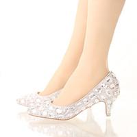 Wholesale Crystal Wedding Dress Shoes - Bride Crystal Shoes Rhinestone Wedding Shoes Silver High Heel Platform Event Shoes Women Handmade Fashion Party Dress Shoes