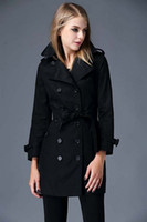 Wholesale England Plaid Women - Hot Sales! women fashion british middle long trench coat high quality brand designer england trench for women size S-XXL 3 colors