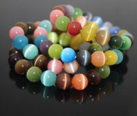 Wholesale Multi Color Bead Bracelet - Multi Color Cat Eye Charm Bracelet 8MM 10MM Semi Precious Stone Round Beads Bracelet For Women Bridal Jewelry Love Gift B697S