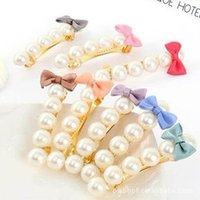 Wholesale Small Pearl Hair Clips - Barrettes hair Small fresh bow imitation pearl hairpin simple headdress for girl free shipping