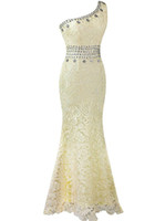 Wholesale champagne vintage lace mermaid wedding dress online - One Shoulder Long Mermaid Prom Dresses Robe de Soiree Lave Floor Length Evening Gowns