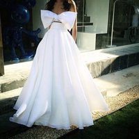 Wholesale Strapless Satin Bowknot Ivory - Amazing Big Bowknot Two Pieces Prom Dresses Design Bodice Evening Dresses Floor Length White Zipper Back Gowns