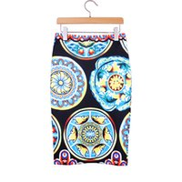 Wholesale Retro Print Skirt - Vintage geometric print women middle skirts 2016 Western retro style vogue lady faldas girls new fashion summer clothing mix order wholesale