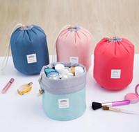 Wholesale Travel Wash Bag Wholesale - 2016 New Arrival Barrel Shaped Travel Cosmetic Bag Nylon High Capacity Drawstring Elegant Drum Wash Bags Makeup Organizer Storage Bag Case