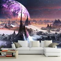 papel tapiz morado para sala de estar al por mayor-Purple galaxy Wallpaper 3D Photo Wallpaper Encantador estrellas Mural de pared Niños Dormitorio Sala de estar Decoración TV Telón de fondo Wall Designer 3D Wallpaper