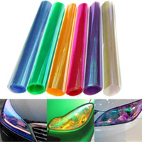 Wholesale Lighting Plastic Material - 30cm*100cm pc Car Headlights Taillights Lights Tint Protective Chameleon Vinyl Film Stickers Auto Membrane Changing Color