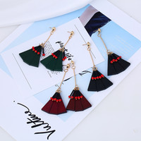 Wholesale Wholesale Wood Studs - Wholesale New luxury long paragraph triangular earrings geometry wood earrings lady earrings factory direct Valentine's Day gift