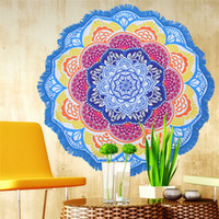 Wholesale Lotus Bedspread - indian mandala tapestry Bohemia tassel Beach Shawl round colorful Lotus scarf Hanging wall Decor Yoga Mat Bedspread Table Cloth wholesale