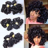 bouncy örgü toptan satış-9A Güzellik Teyze Funmi Saç Kabarık Bukleler Işlenmemiş Perulu Bakire Saç Fumi Saç Demetleri Nijeryalı Romantizm Kıvırmak Remy Saç Uzantıları