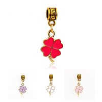 Wholesale Europe Style Fashion Pendant Necklace - New Arrivals 2016 Europe style fashion Clover alloy pendants DIY jewelry Charms fit necklace Jewelry Accessories wholesale 5colors